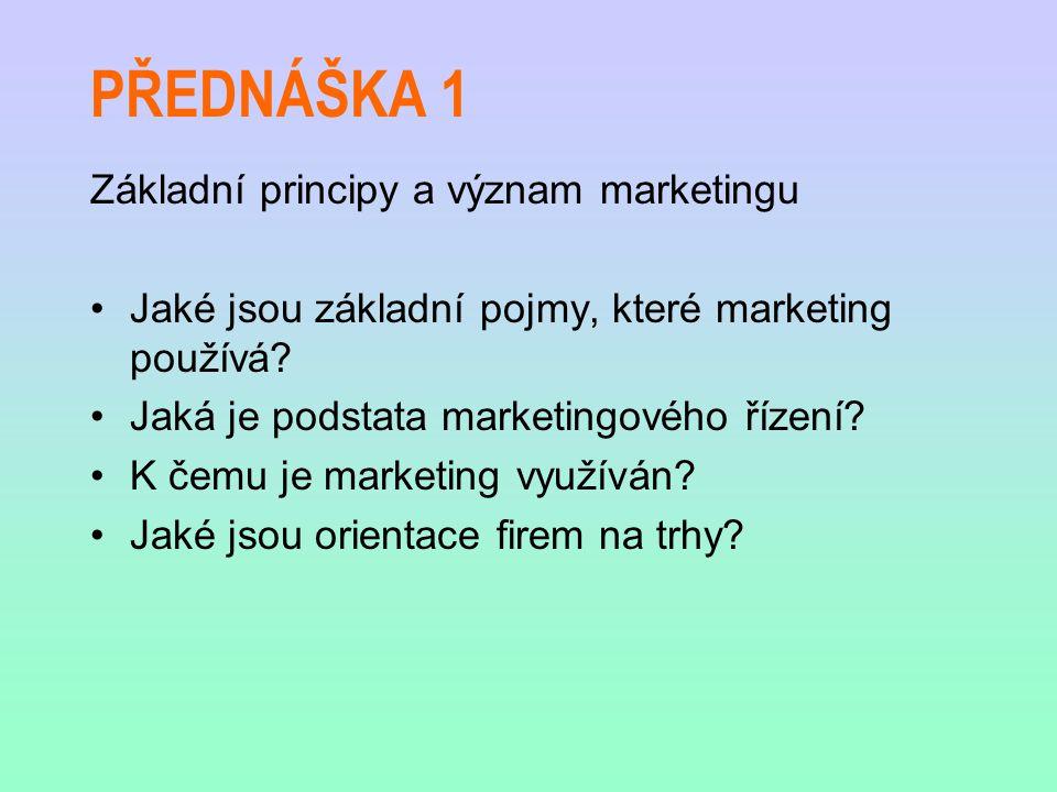 PŘEDNÁŠKA 1 Základní principy a význam marketingu