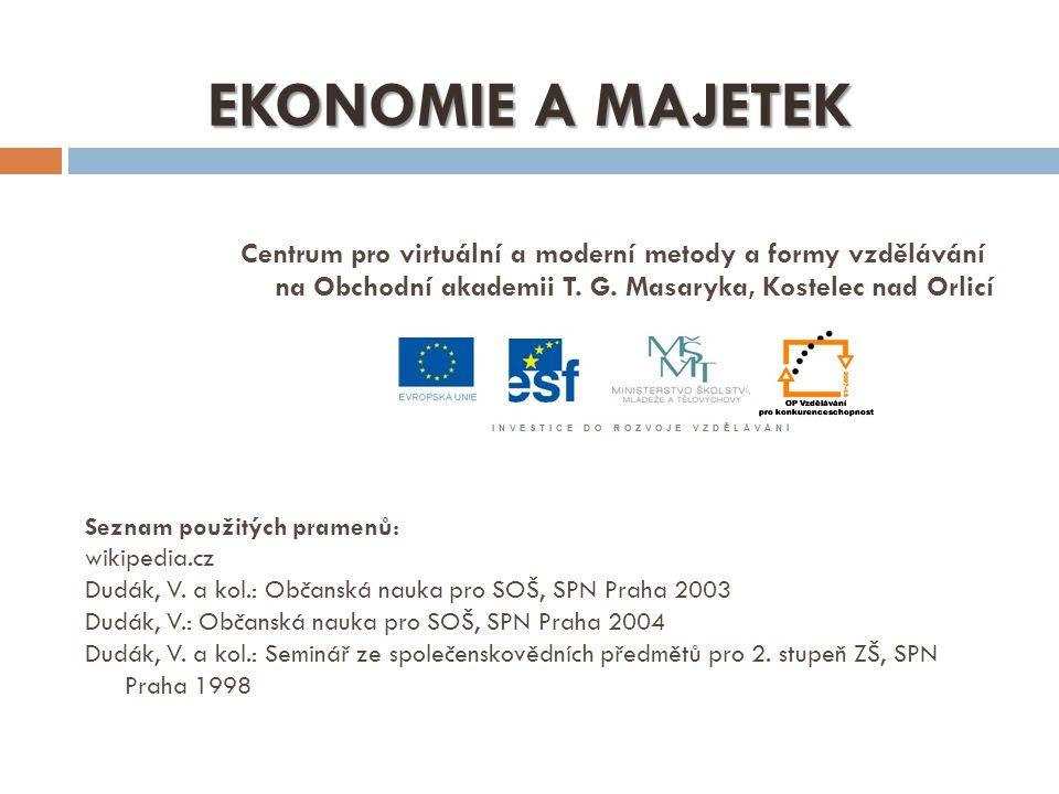 EKONOMIE A MAJETEK Centrum pro virtuální a moderní metody a formy vzdělávání na Obchodní akademii T. G. Masaryka, Kostelec nad Orlicí.