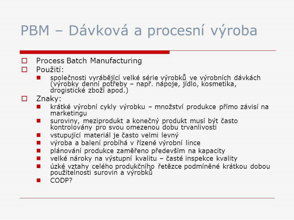 PBM – Dávková a procesní výroba