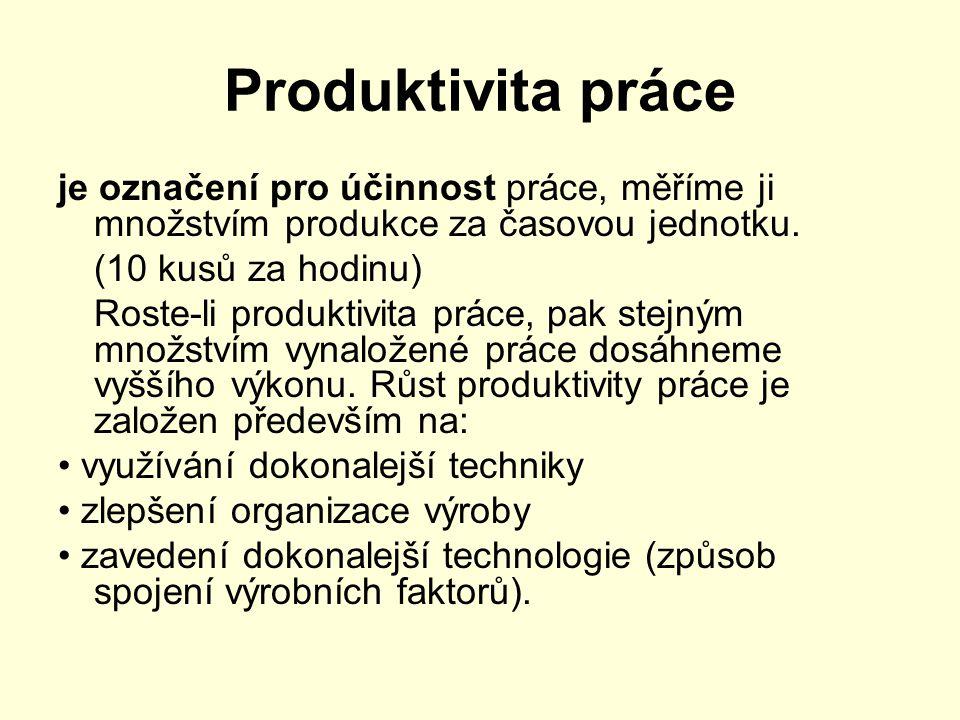 Produktivita práce je označení pro účinnost práce, měříme ji množstvím produkce za časovou jednotku.