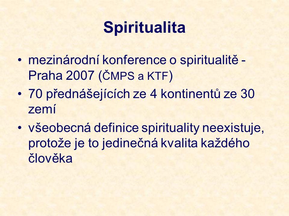 Spiritualita mezinárodní konference o spiritualitě - Praha 2007 (ČMPS a KTF) 70 přednášejících ze 4 kontinentů ze 30 zemí.