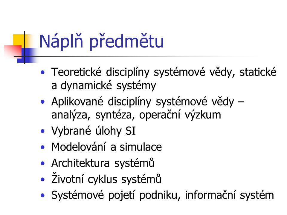 Náplň předmětu Teoretické disciplíny systémové vědy, statické a dynamické systémy.