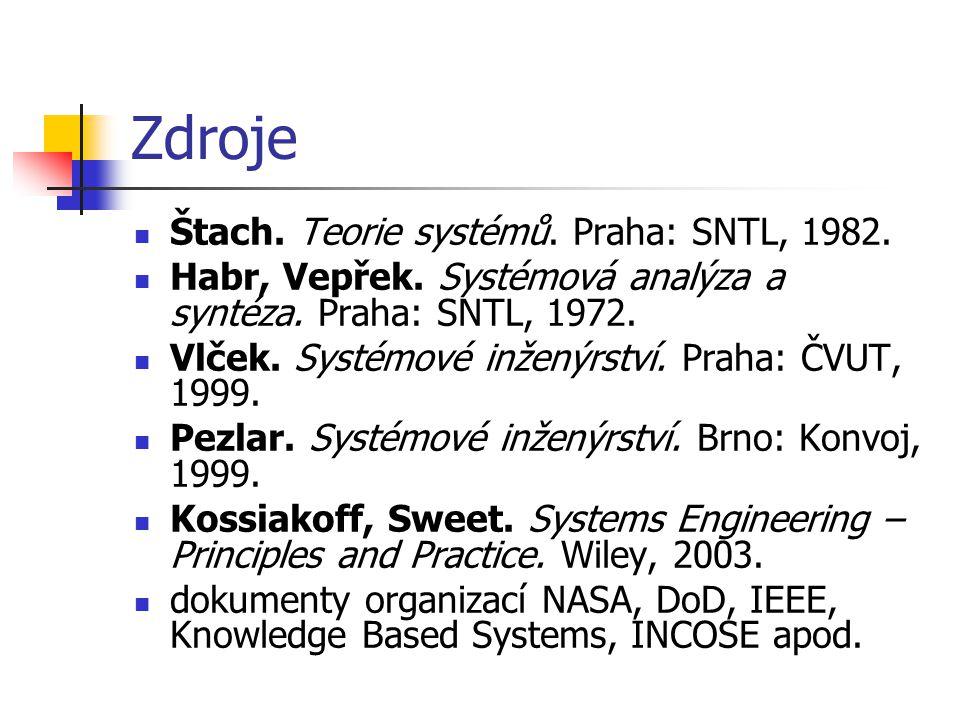 Zdroje Štach. Teorie systémů. Praha: SNTL, 1982.