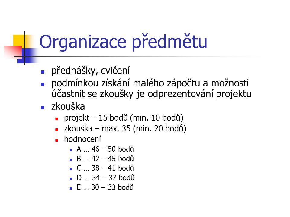 Organizace předmětu přednášky, cvičení