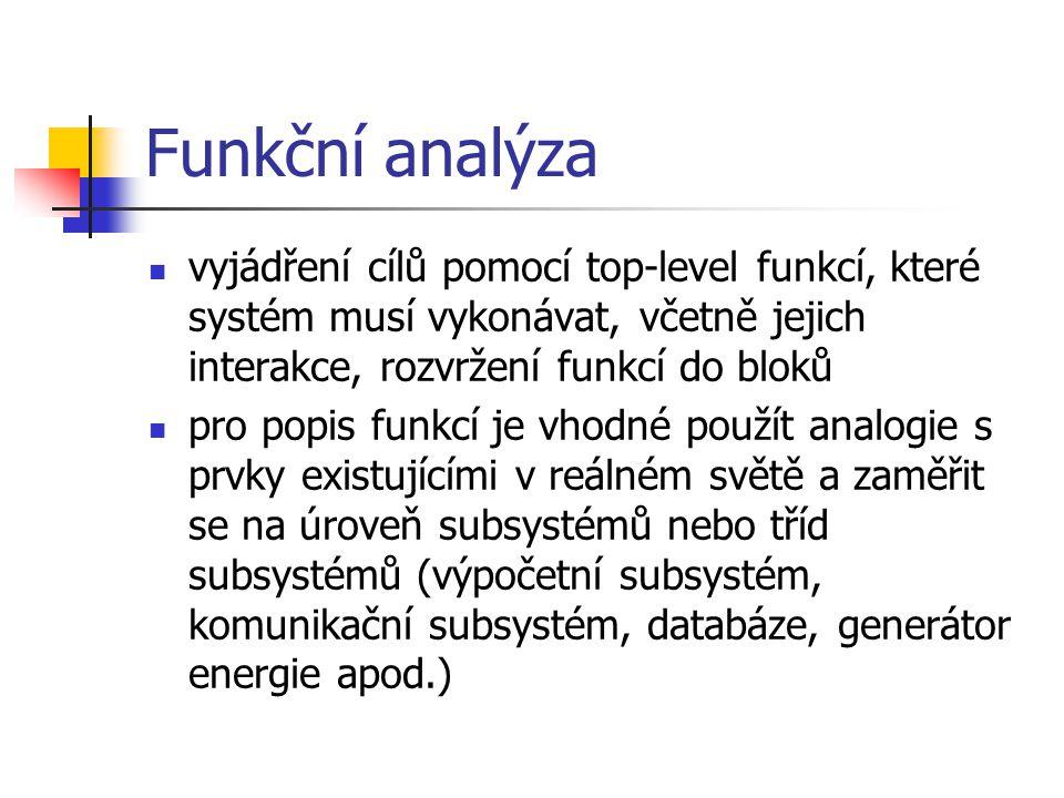Funkční analýza vyjádření cílů pomocí top-level funkcí, které systém musí vykonávat, včetně jejich interakce, rozvržení funkcí do bloků.