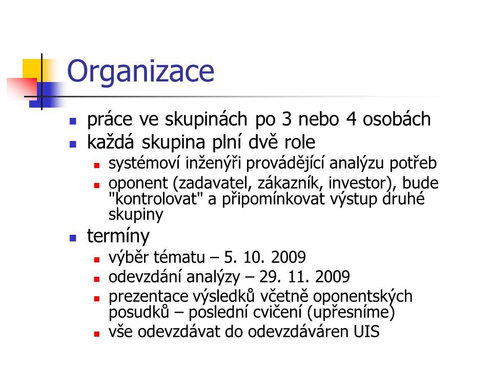 Organizace práce ve skupinách po 3 nebo 4 osobách