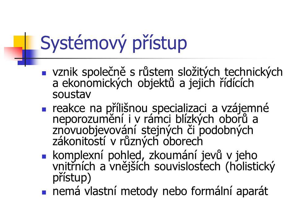 Systémový přístup vznik společně s růstem složitých technických a ekonomických objektů a jejich řídících soustav.