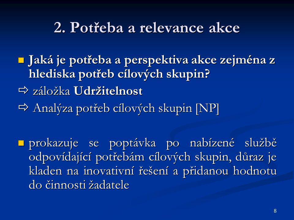 2. Potřeba a relevance akce