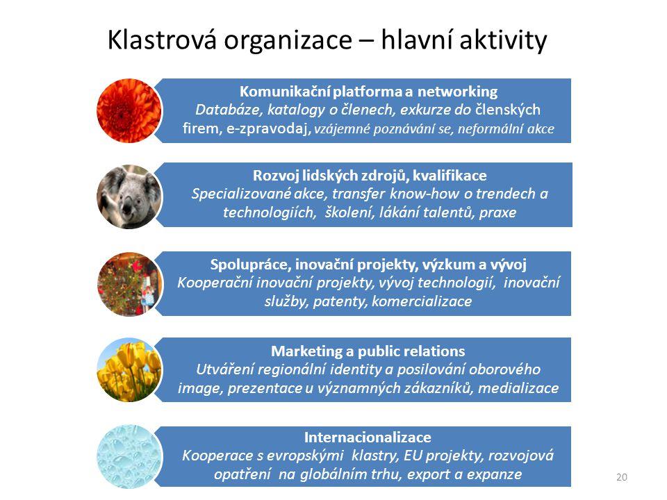 Klastrová organizace – hlavní aktivity