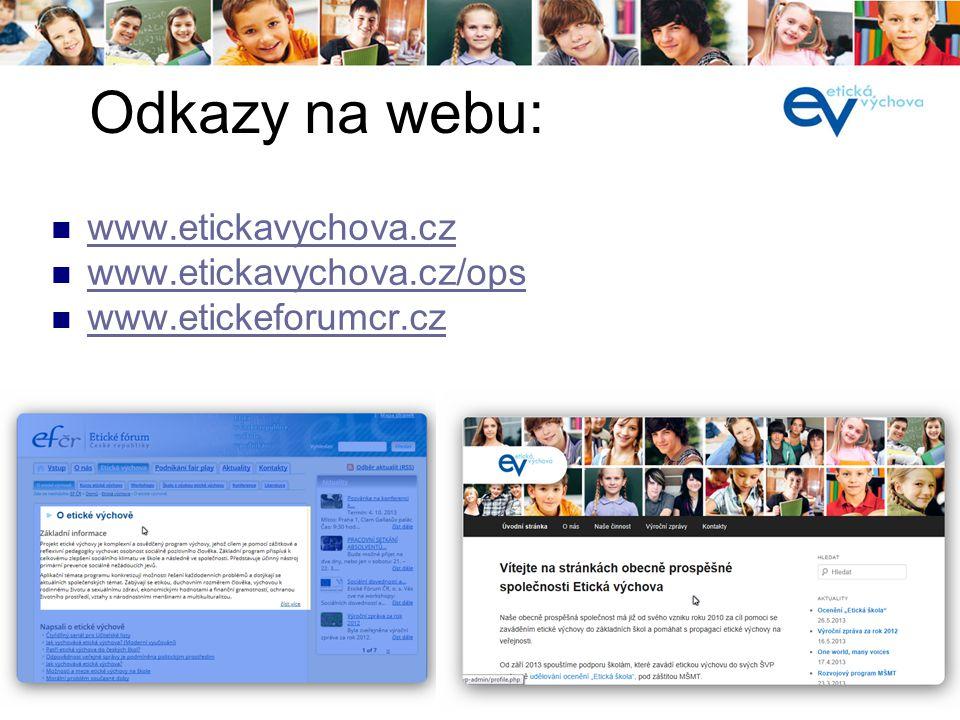 Odkazy na webu: www.etickavychova.cz www.etickavychova.cz/ops