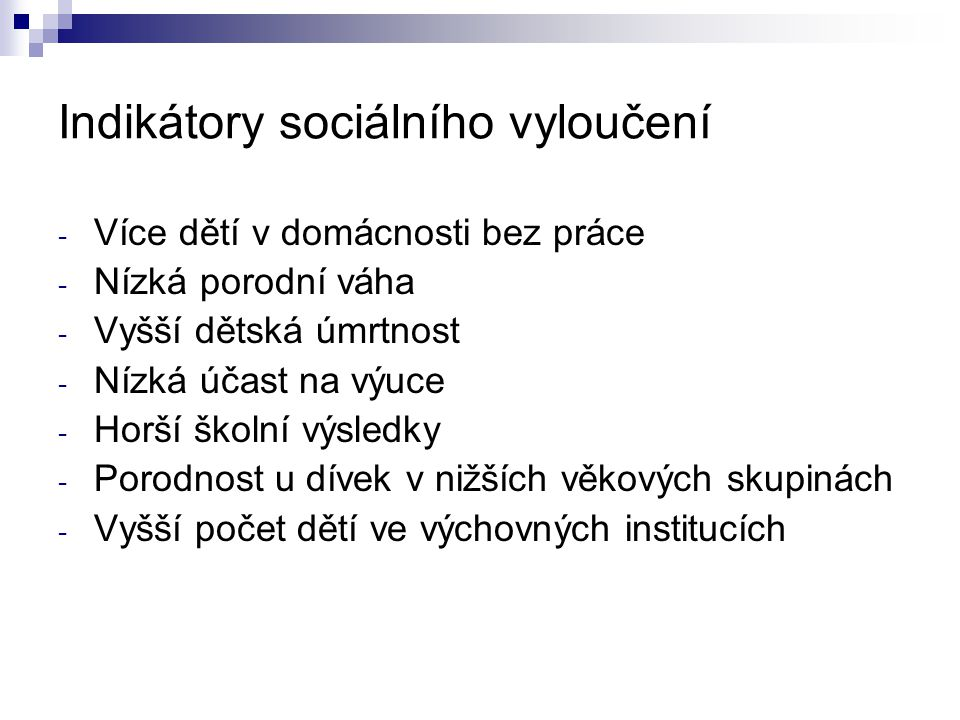 Indikátory sociálního vyloučení