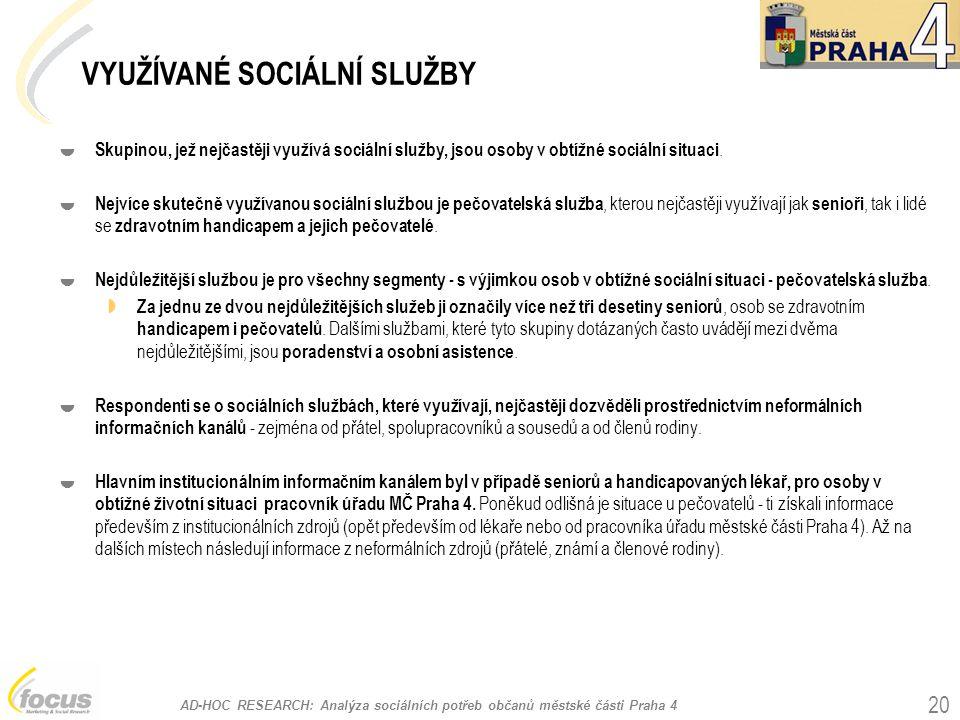 VYUŽÍVANÉ SOCIÁLNÍ SLUŽBY