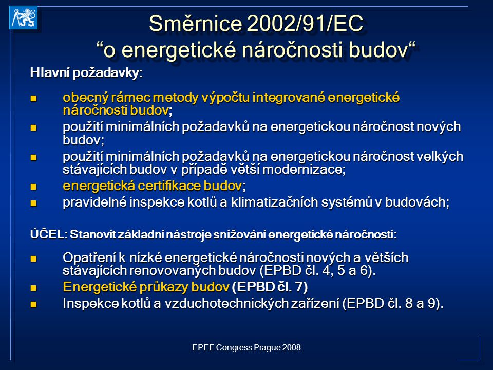 Směrnice 2002/91/EC o energetické náročnosti budov
