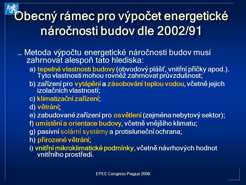 Obecný rámec pro výpočet energetické náročnosti budov dle 2002/91