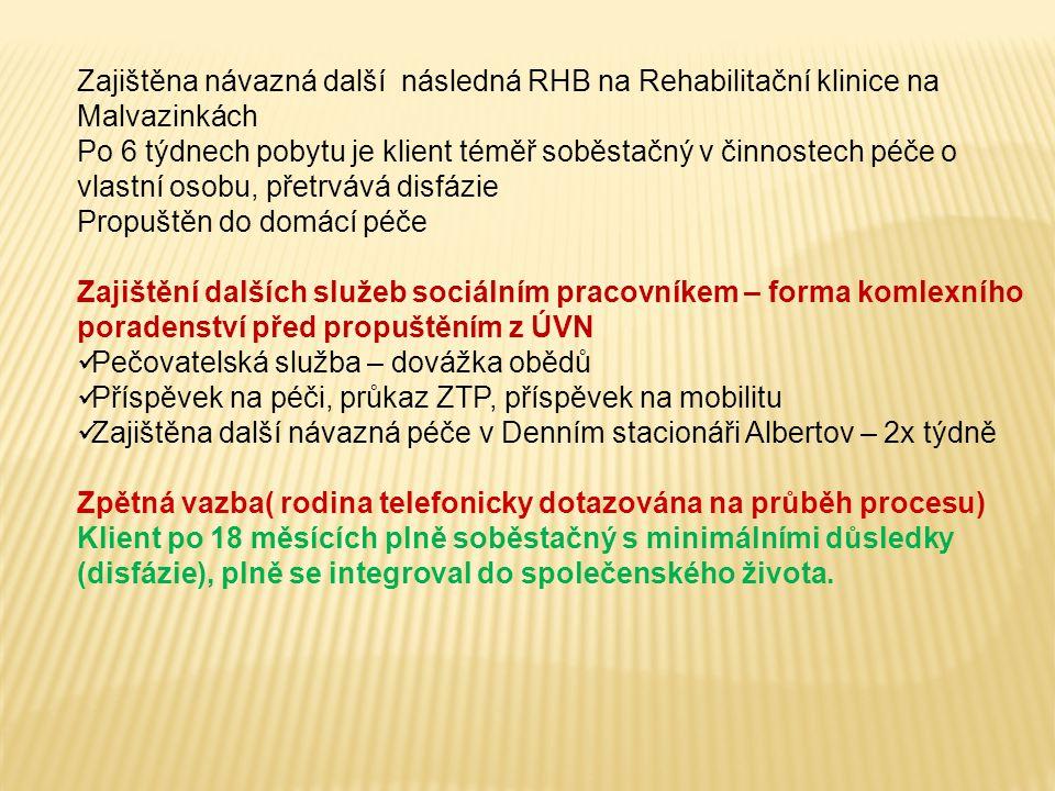 Zajištěna návazná další následná RHB na Rehabilitační klinice na Malvazinkách