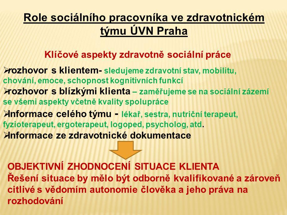 Role sociálního pracovníka ve zdravotnickém týmu ÚVN Praha