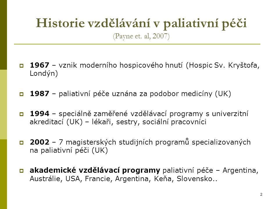 Historie vzdělávání v paliativní péči (Payne et. al, 2007)