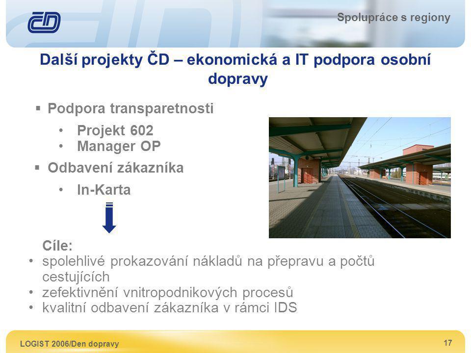 Další projekty ČD – ekonomická a IT podpora osobní dopravy