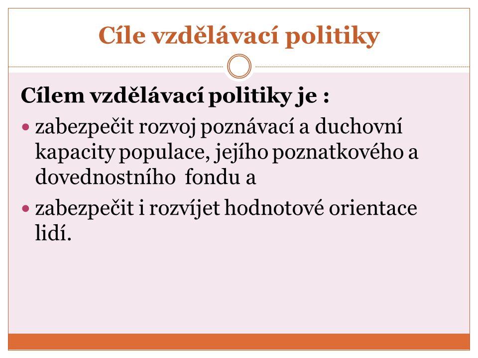 Cíle vzdělávací politiky