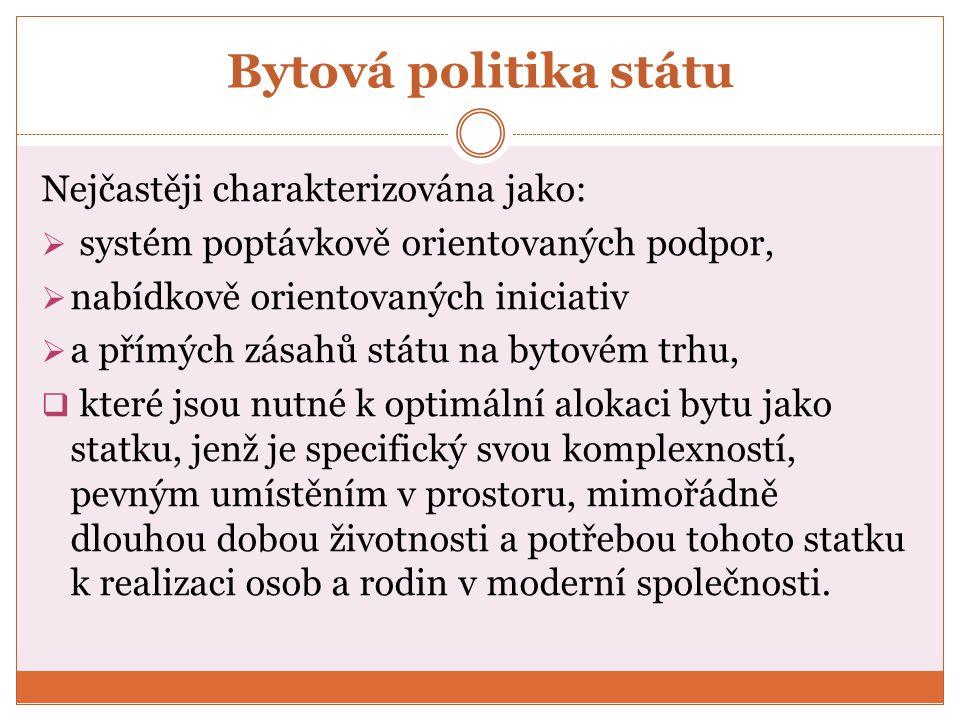 Bytová politika státu Nejčastěji charakterizována jako: