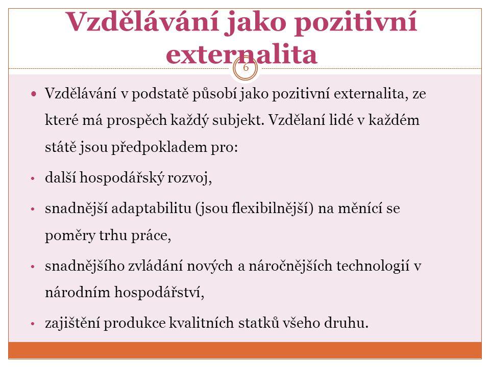 Vzdělávání jako pozitivní externalita