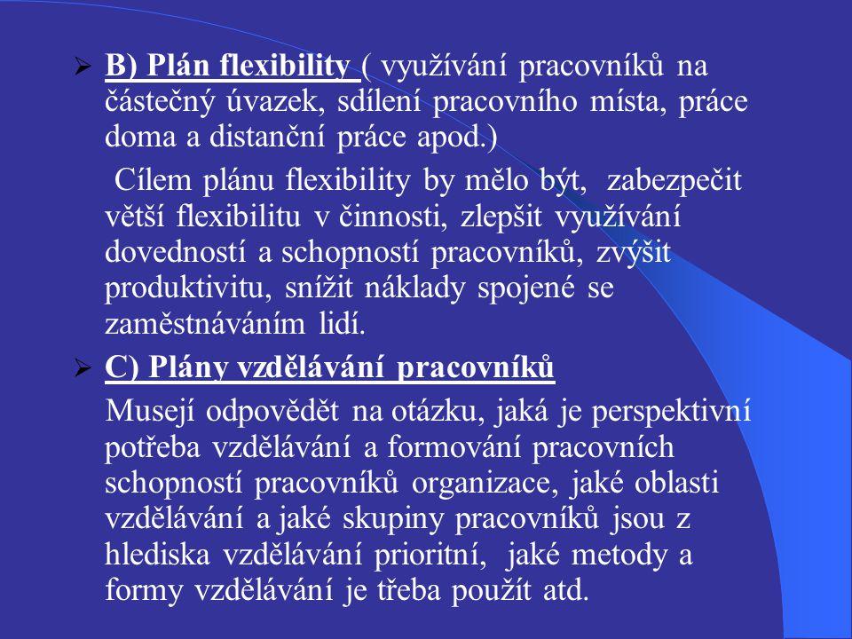 B) Plán flexibility ( využívání pracovníků na částečný úvazek, sdílení pracovního místa, práce doma a distanční práce apod.)