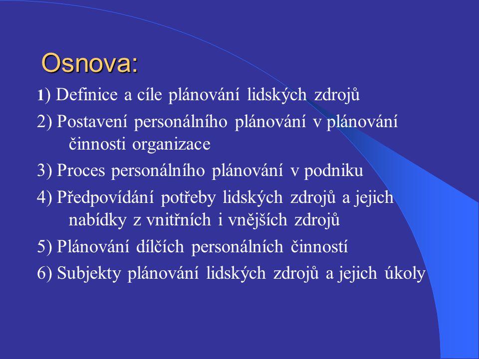 Osnova: 1) Definice a cíle plánování lidských zdrojů. 2) Postavení personálního plánování v plánování činnosti organizace.