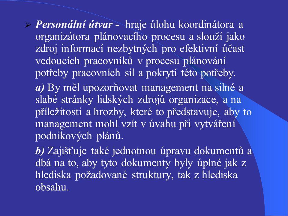 Personální útvar - hraje úlohu koordinátora a organizátora plánovacího procesu a slouží jako zdroj informací nezbytných pro efektivní účast vedoucích pracovníků v procesu plánování potřeby pracovních sil a pokrytí této potřeby.