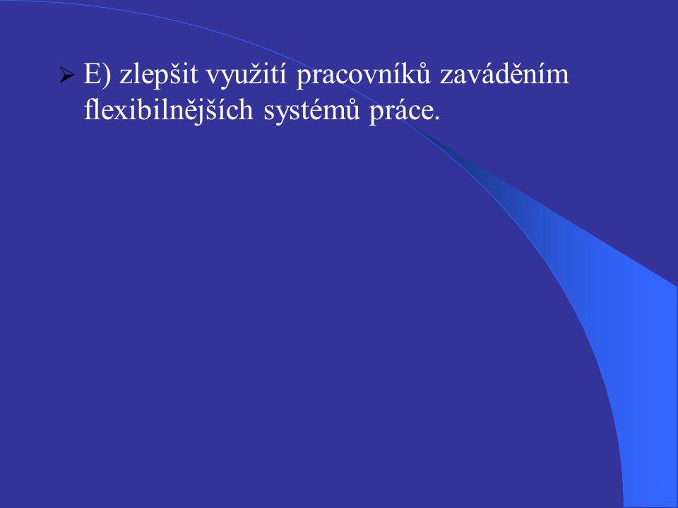 E) zlepšit využití pracovníků zaváděním flexibilnějších systémů práce.