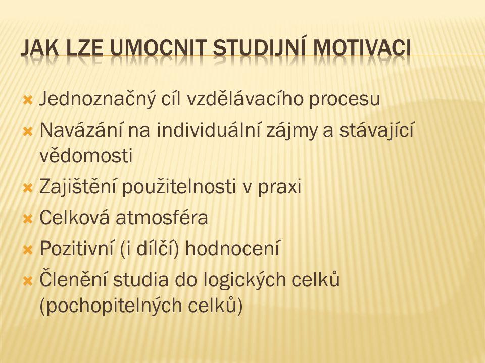 Jak lze umocnit studijní motivaci