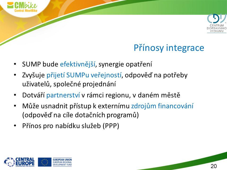 Přínosy integrace SUMP bude efektivnější, synergie opatření