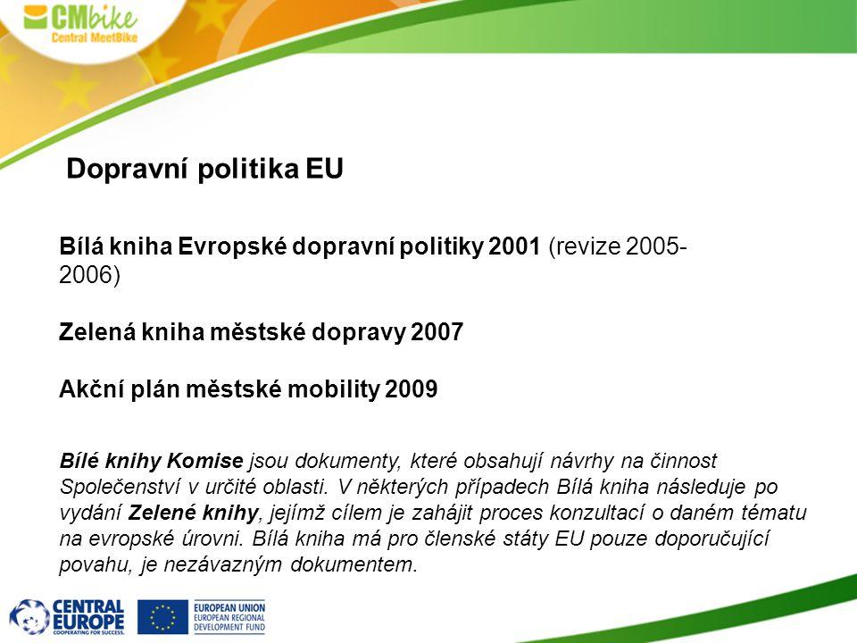 Dopravní politika EU Bílá kniha Evropské dopravní politiky 2001 (revize 2005-2006) Zelená kniha městské dopravy 2007.