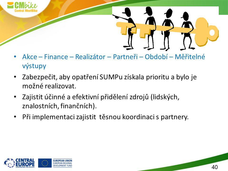 Akční plán SUMPu Akce – Finance – Realizátor – Partneři – Období – Měřitelné výstupy.