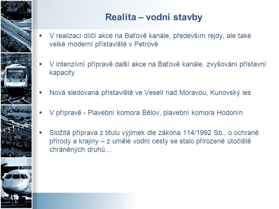 Realita – vodní stavby V realizaci dílčí akce na Baťově kanále, především rejdy, ale také velké moderní přístaviště v Petrově.