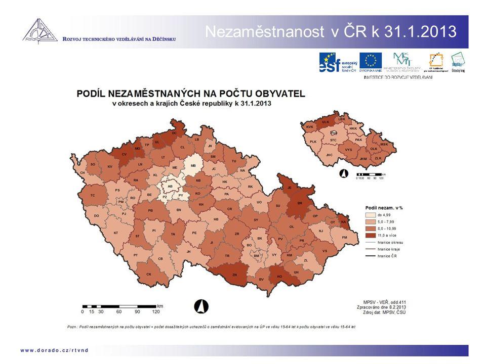 Nezaměstnanost v ČR k 31.1.2013