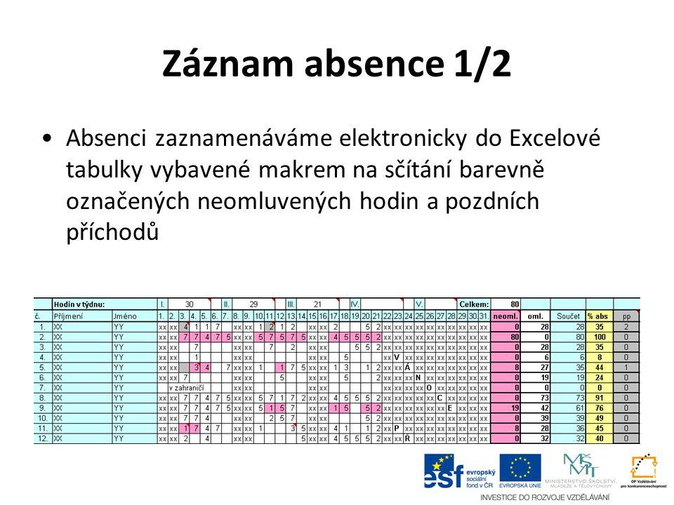 Záznam absence 1/2