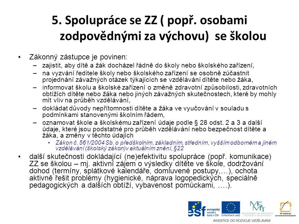 5. Spolupráce se ZZ ( popř. osobami zodpovědnými za výchovu) se školou