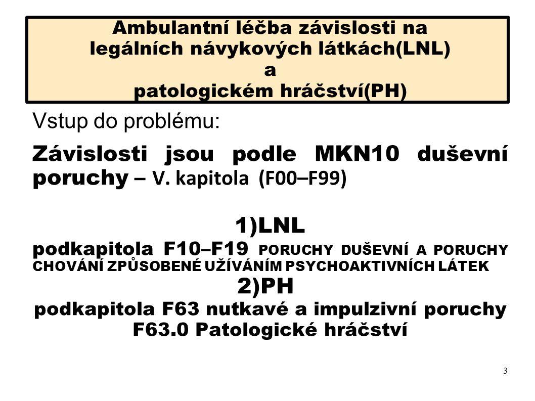 Závislosti jsou podle MKN10 duševní poruchy – V. kapitola (F00–F99)