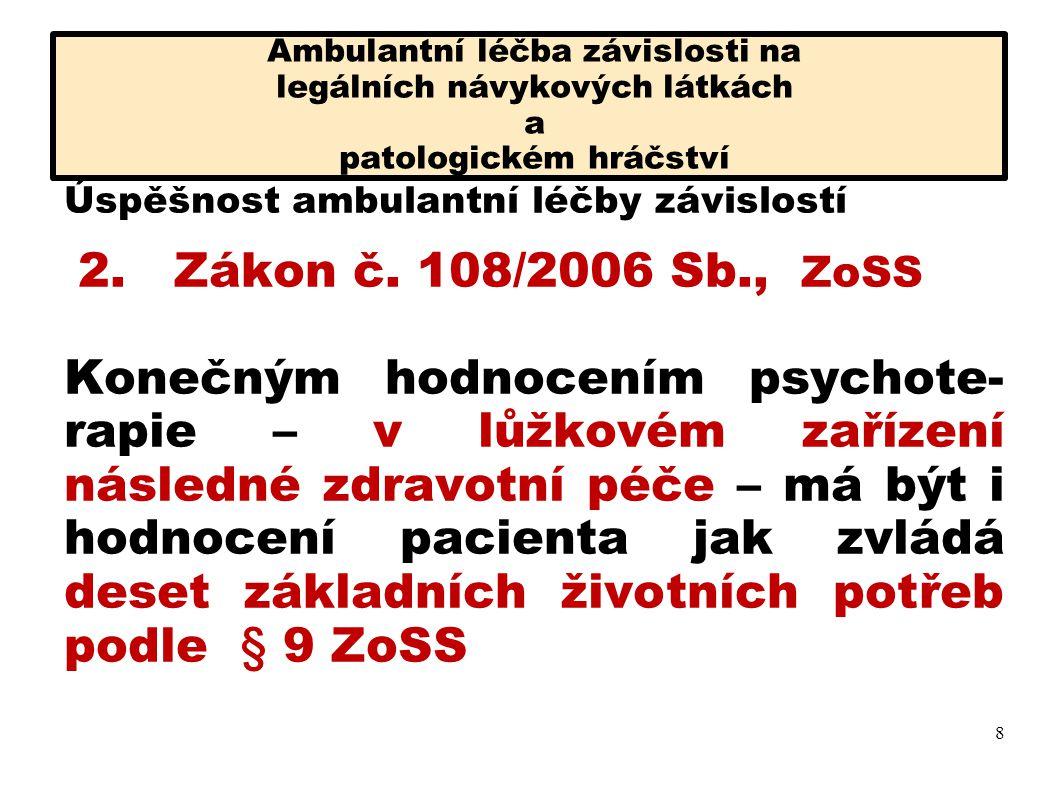 Ambulantní léčba závislosti na legálních návykových látkách a patologickém hráčství