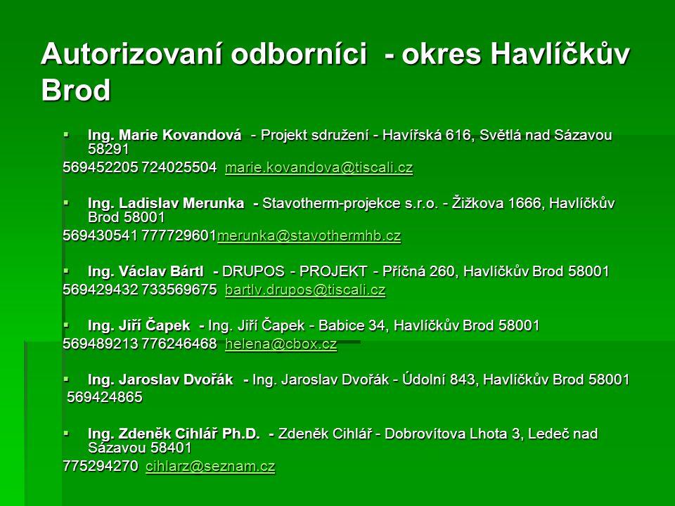 Autorizovaní odborníci - okres Havlíčkův Brod