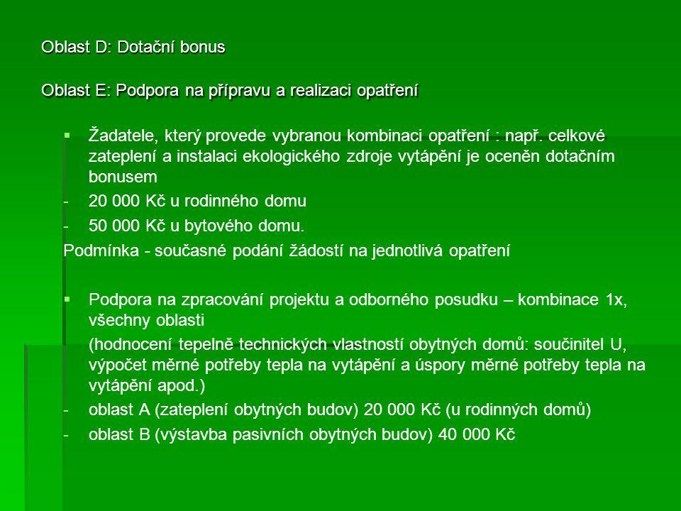 Oblast D: Dotační bonus Oblast E: Podpora na přípravu a realizaci opatření