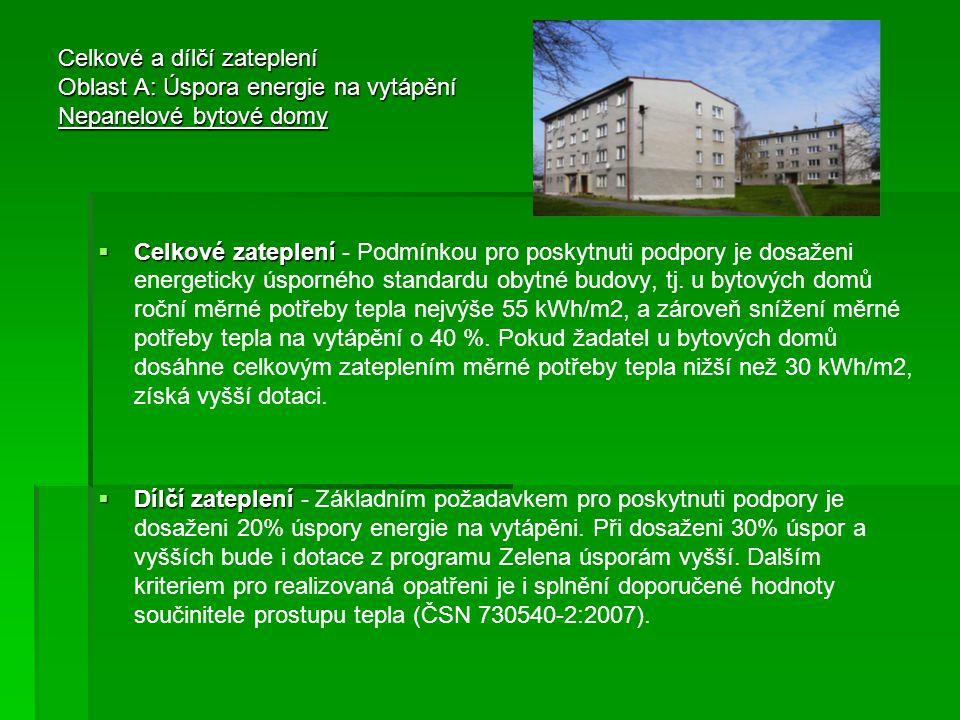 Celkové a dílčí zateplení Oblast A: Úspora energie na vytápění Nepanelové bytové domy