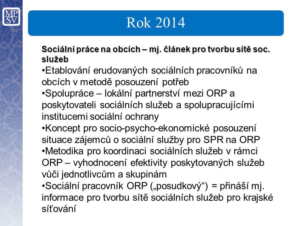 Rok 2014 Sociální práce na obcích – mj. článek pro tvorbu sítě soc. služeb.