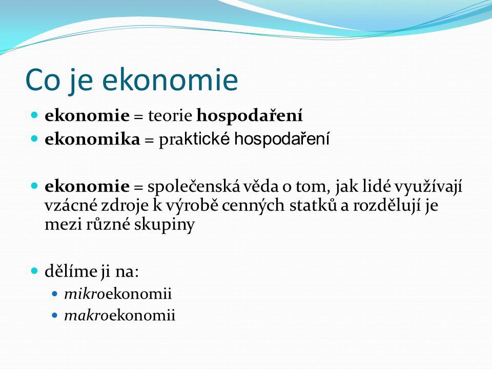 Co je ekonomie ekonomie = teorie hospodaření