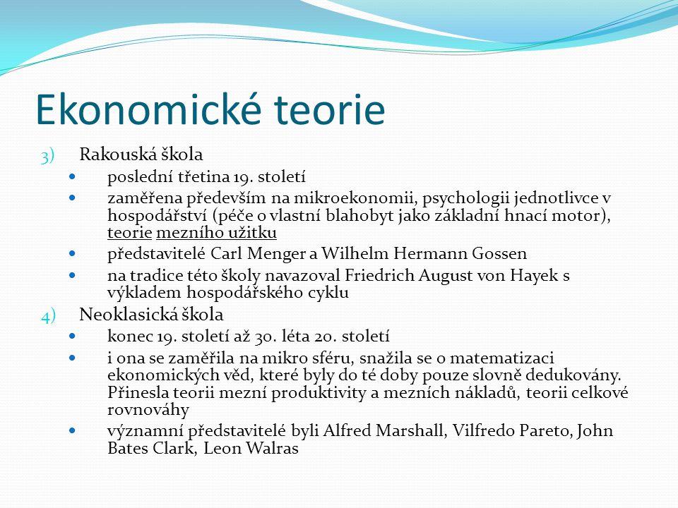 Ekonomické teorie Rakouská škola Neoklasická škola
