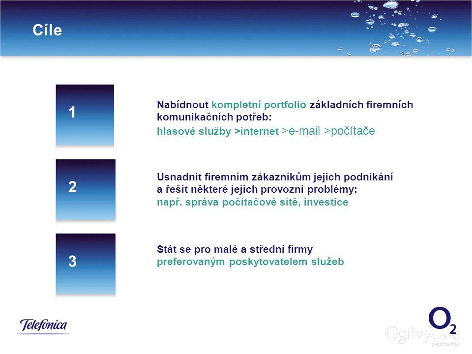 Cíle Nabídnout kompletní portfolio základních firemních komunikačních potřeb: hlasové služby >internet >e-mail >počítače.