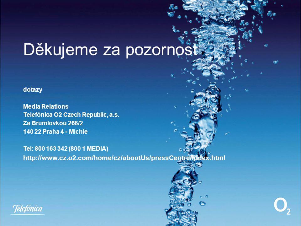 Děkujeme za pozornost dotazy Media Relations Telefónica O2 Czech Republic, a.s.