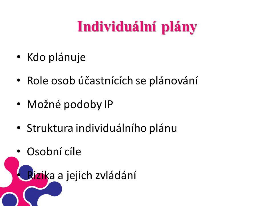 Individuální plány Kdo plánuje Role osob účastnících se plánování