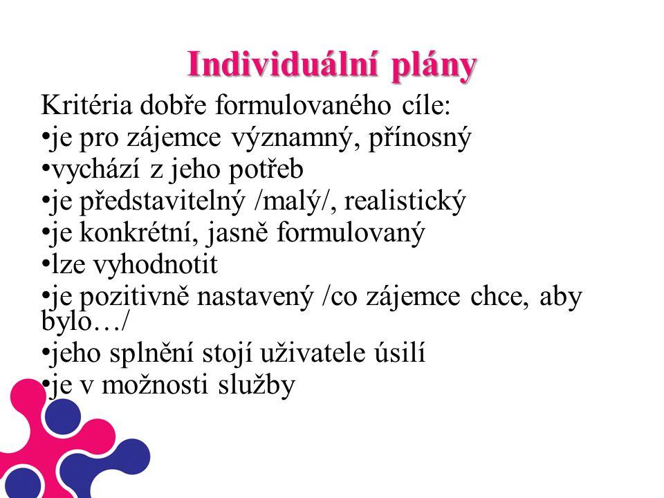Individuální plány Kritéria dobře formulovaného cíle: