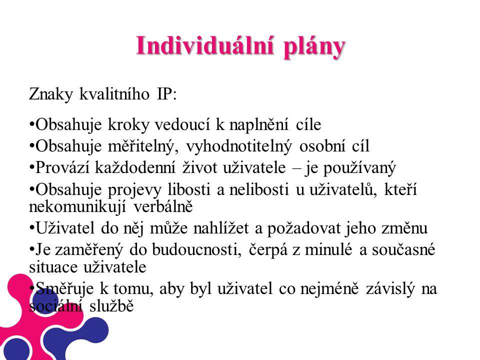 Individuální plány Znaky kvalitního IP: